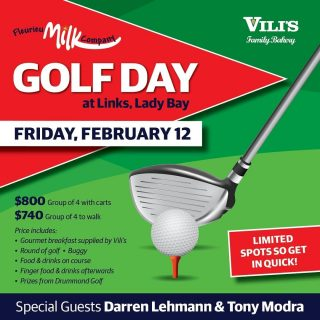 The Fleurieu Milk Company Golf Day is on again this February with special Guests Darren Lehmann & Tony Modra. All proceeds of the day will go to support the @littleheroesfoundation. To make a booking email geoff@fleurieumilkco.com.au to secure your place. All bookings need to be confirmed by 14th January.