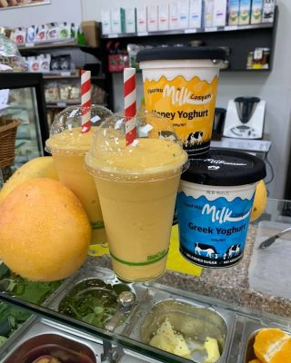 Fresh Mango smoothies with Fleurieu Milk Company yoghurt. What a great Summer treat. If you'd like one, why not drop into the Farm Fresh Market at Murray Bridge, or try making one yourself at home! Image: Farm Fresh Market Murray Bridge